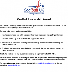 goal ball leadership award poster