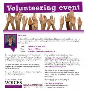Volunteering Event Invite 2nd June 2014