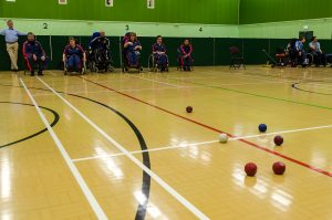 picture of a game of boccia at Perdiswell Leisure Centre
